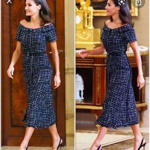 Zara Tweed blue midi dress Xs NWT